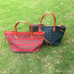 Wholesale Cotton Tartan Fabric Wholesale - Buffalo Check Tote Wholesale Blanks Plaid Check Purse Large Handbag with PU Handle and Magnetic Snap Closure Free Shipping DOM106377