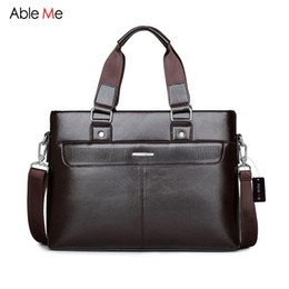 Wholesale Document Handbag - Wholesale- AbleMe 2017 Leather Briefcase Male Portable Leisure Bag Men Handbag Document Business Briefcase Men for 14 Inch Laptop Bag
