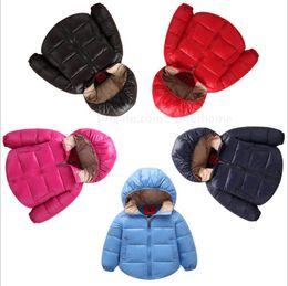 Wholesale Hoodies Outerwear Parka - Kids Winter Down Jacket Hooded Coat Boys Fashion Down Coat Outerwear Girls Down Parkas Warm Overcoat Zipper Hoodies Windproof Jumper B1448