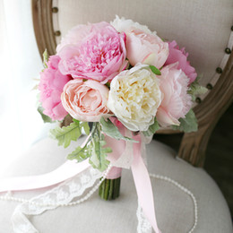 Wholesale Cheap Artificial Pink Bridesmaids Bouquets - CHarming Pink Peony Bridal Bouquets Holding Brooch Flowers 2017 Artifical Exquisite Cheap Wedding Decoration Artificial Bridesmaid Flowers