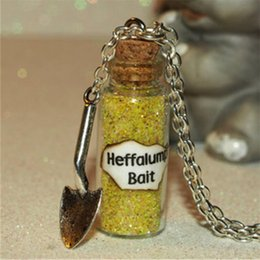 Wholesale Charms Shovel - 12pcs the Magical Heffalump Bait Necklace glass Bottle Necklace with a Shovel Charm Once Upon a Time Inspired necklace