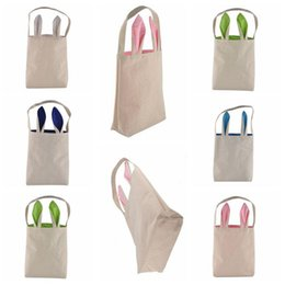 Wholesale Bedding Fabrics Wholesale - 5 Colors Easter Bunny Bag Celebration Gifts Easter Hare Gifts Cotton Canvas Handbags Shopping Bag Easter Gift Storage Bags CCA7534 60pcs