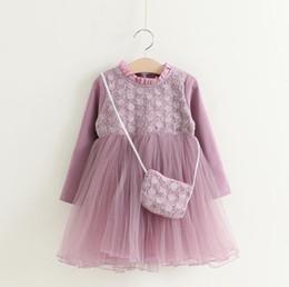 Wholesale Boat Handbag - 2017 Baby Girl kids Party Dress Autumn Girls Sweet Princess Long sleeve dress with Handbag Baby Kids Clothing