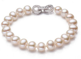Wholesale South Sea Pearls White Ring - Charming AAA 8-9mm south seas white pearl bracelet 7.5-8inch 925 silver clasp