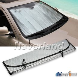 Wholesale front windshield sun shade visor - Universal Reflective Car Aluminum foil Windscreen Sunshade Front Window Sun Shade Windshield Visor Cover UV Protect D10