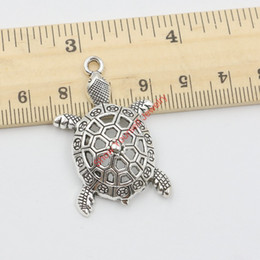 Wholesale Turtle Diy - Wholesale- 10pcs Tibetan Silver Plated Turtle Charms Pendants for Jewelry Making DIY Handmade Craft 40x25mm