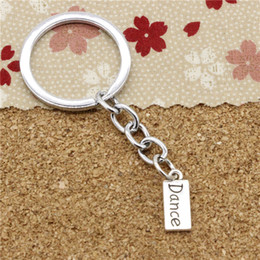 Wholesale Dance Key Chains - 15pcs Fashion Diameter 30mm Metal Key Ring Key Chain Jewelry Antique Silver Plated plates dance 7*17mm Pendant