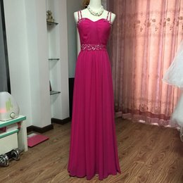 Wholesale Double Color Gowns - Double Spaghetti Long Chiffon Bridesmaid Dress Lace Up 2017 Fuchsia Wedding Party Gowns Elegant Evening Gowns