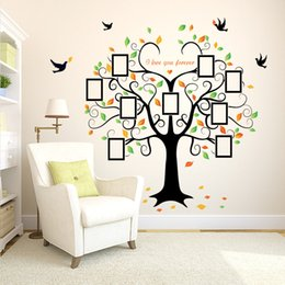 Wholesale Pictures Papers - European Wall Stickers SK2010W Heart-shaped picture frame Big tree Bedroom background decorative picture