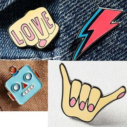 Wholesale Celtic Clothing Women - Wholesale- 1PC Korea Lighting Enamel Pin Brooches for Women Cute Love Finger Suit Collar Pins Brooch Clothing Accessories P1325