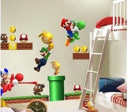 Wholesale Mario Bros Stickers - New Super Mario Bros Yoshi Kids Removable Wall Decals Sticker Home Decor Nursery