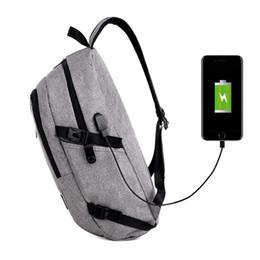 Sacos para estudantes universitários homens on-line-Novos homens do sexo feminino mochila maré faculdade vento estudantes universitários saco carga USB ao ar livre pacote viagem maré