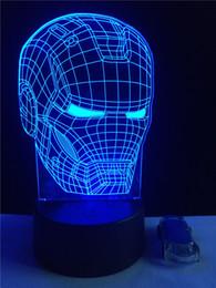 Wholesale Iron Order - 2PC Originality Iron Man 3D Light Touch Button Colors Change LEDTable Lamp Gift Mix Order Custom LED College Football Baseball Fan Light
