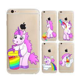 Canada Pour iphone 7 Etui 3D Bande Dessinée Licorne Farting Rainbow Cases Monocerus Fart Horse Baby TPU Couverture Arrière pour iphone 7 6 6s plus SE 5s 8 supplier iphone case 5s rainbow Offre