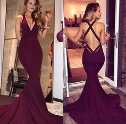Wholesale Sleeveless Mermaid Evening Dresses - Simple Burgundy Prom Dresses 2017 Sexy Mermaid Backless Sleeveless Sweep Train Long Party Dresses Evening Gowns Formal Wear