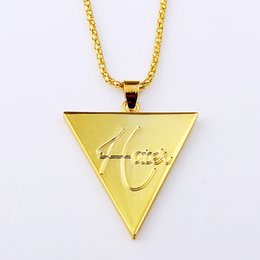 Wholesale K Charms - Fashion Hip Hop Brand Jewelries Creative HATET Geometric Triangles Pendant 18 K Gold Plated Necklaces For Men