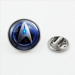 star trek pins Rabatt Neue Mode Star Trek Brosche Pins Runde Star Trek Kragen Tipps Glas Cabochon Schmetterling Broschen Pins Silber Schmuck