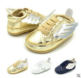 Wholesale Kids Shoe Wings Wholesale - Baby first walker Babies kids Angel wings casual sneakers newborn boys girls PU leather soft bottom toddler shoes fit 0-1T baby shoes T3880
