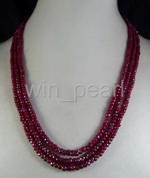 Wholesale Natural Ruby Earrings 18k - New 2x4mm NATURAL RUBY FACETED BEADS NECKLACE 3 STRAND