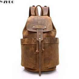 Wholesale Laptop Shoulder Leather - Wholesale- Y.ZHUO cow leather man backpack 100% genuine leather man bag high quality men shoulder duffel bag school men travel Laptop bag