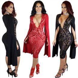 Wholesale Capped Sleeved Dresses - 2017 Spring Elegant sequin dress deep v neck Mid dresses Women black Pullovers bodycon dress transprant long sleeved sexy mesh mini vestidos