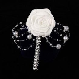 Wholesale Prom Flower Bouquets - Wholesale-1PC HandMade Groom Boutonniere White Ribbon Rose Wedding Bouquet Flower Groomsmen Corsages Party Prom Man Suit Accessories