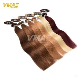 Wholesale Golden Brown Remy Extensions - 14- 24 inch 100 Strands Straight Pre Bonded U Nail Tip Keratin Fusion Remy Human Hair Extensions Color 613# Golden Brown Blond Hair