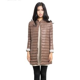 Wholesale Thin Down Coats For Women - New Women's Down Coats 2017 Winter Warm Fashion Long Thin Jacket Plus Size O-Neck Outwear Parkas For Female Button Solid Clothes