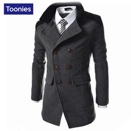 Wholesale Casual Trench Coats - 2016 Autumn Men's Cool Jacket Long Wool Overcoat Men Coat Double Breasted Men's Coat Business Casual Trench Coat Men Black Gray Navy Blue