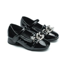 Wholesale Rubber Bands Single - 2017 Autumn Diamond Metal Decorative Girls Single Shoes Princess Shoes Glossy Shoes Low and Casual