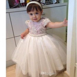 Wholesale Graceful Dresses For Girls - Graceful Pearls Beaded Ball Gown Baby Girls Pageant Dresses 2017 Kids First Communion Gowns Flower Girls Dress For Wedding Custom Made