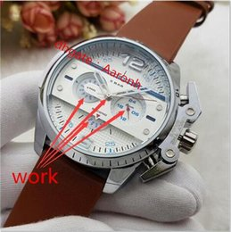 Wholesale Military Cans - High quality French Luxury Brand Men's multifunction Watch Military montre homme luxury dz7333 leather Quartz watch All functions can work