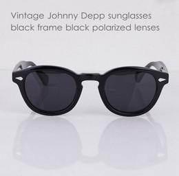 Wholesale vintage sunglasses depp - Vintage polarized sunglasses mens brand new Depp Eyeglasses frames Black lenses 100%UV400 sun glasses high quality