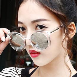Wholesale Reflective Circle Glasses - Wholesale-brand designer reflective Transparent Round ladies Sunglasses Arrow circle sun glasses for women Outdoor gafas