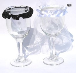Wholesale Dress Drink - Wholesale-200pcs lot Decoration Wedding Supply Bride and Groom Lovely Evening Dress Wine cups Champagne Party Toasting Glasses drinking