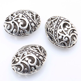 Wholesale Tibetan Beads For Jewelry Making - 10pcs lot Antique Silver Color Tibetan Silver Ellipse Shaped Hollow Spacer Bead Findings for Jewelry Making
