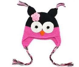 Wholesale Cashmere Baby Gifts - 6 Color Best Price - Handmade Knitted Crochet Baby Hat Owl Hat with Ear Flap Baby Winter Cap Free Shipping Christmas Gift A298-8
