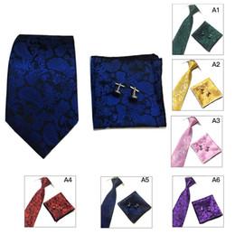 Wholesale Silk Handkerchief Ties - Fashion Floral Woven Paisley Jacquard Silk Tie Set Cufflinks and Handkerchief Gift Set For Wedding Party