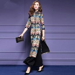 Wholesale Casual Dress Pant Legs - Women Retro Long Dress 2017 Women Floral Print Split Dresses+Wide Leg Pants 2pcs Sets Girls Plus Size Bohemian Outfits Women Vestidos WD350