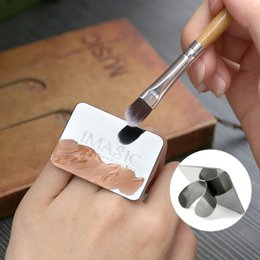 Wholesale Black Nail Paint - imagic Nail Art Makeup Cosmetic Stainless Steel Paint Mix Palette Ring Tool Liquid foundation plate easy use plate