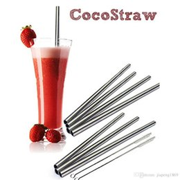 Wholesale Quality Wines Supplies - 8PCS Metal Drinking Stainless Steel Straw High Quality Straight Straws With 2 Cleaner Brushs Wedding Party Bar Supplies