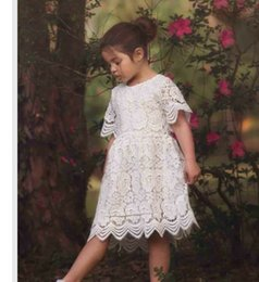 Wholesale Summer Kids Girls Crochet Lace Dresses Baby Girl Princess Hallow Out Dress Babies Korean Party Dress childrens clothing