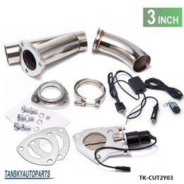 """Wholesale Cutting System - TANSKY - electric exhaust 3.0"""" Cutout E-cutout W Switch  Remote  Switch+Remote Downpipe Cut out Valve System Kit"""