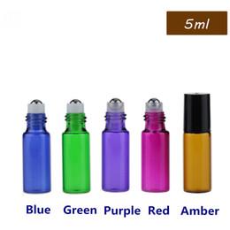 Wholesale Empty Glass Bottles For Perfumes - 2500Pcs Lot Empty 5ml Perfume Sample Roll bottles Mix 5 Colors Glass Bottle Roller Metal Bottle For Essential Oil 5CC Roller Ball Bottle