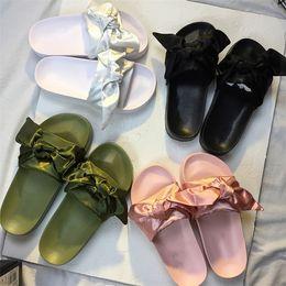 Wholesale Cheap Women Bag Fashion - 2017 Newest Cheap Rihanna Fenty Shoes Bandana Slide Bow With Dust Bag Leadcat bowtie Slides Women Sandals Pink Green White Blue Slippers