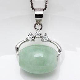 Wholesale S925 Jade Pendant - Natural Burma Jade A cargo transporter Passepartout jade pendant necklace fashion S925 silver pendant jewelry gifts