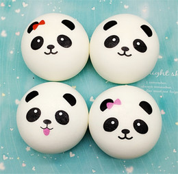 Wholesale Panda Music - Wholesale 10CM Squishy Cute Panda 4 Styles Slow Rising Toy Buns Bread Charms Squishies Cell Phone Straps