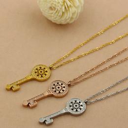 Wholesale Cnc Insert - The new Europe with a sun flower diamond Key Necklace female fashion fashionista CNC titanium micro insert short accessories