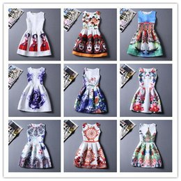 Wholesale Digital Print Vintage Dress - New style digital printed floral princess bubble skirt fashionable round collar slim jacquard vintage vest dress cake skirts