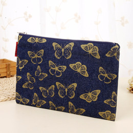 Wholesale Butterfly Makeup - Wholesale- New High Quality Butterfly Cosmetic Case Makeup Pencil Pen Case Pouch Bag Canvas Unique Handmade free shipping